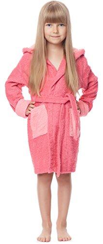 tee Bademantel aus 100% Baumwolle LA40-103 (Rosa/Coralrosa (M10/M5), 122-128) (Sportliches Mädchen-bekleidung)