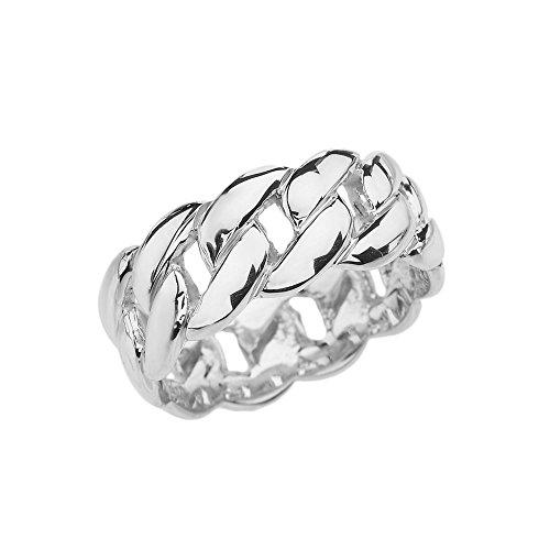 Damen Ring / Verlobungsring / ehering 925 Sterling Silber 8 Mm Kubanisch Link Ring Band (Sterling Silber 8mm Eheringe)