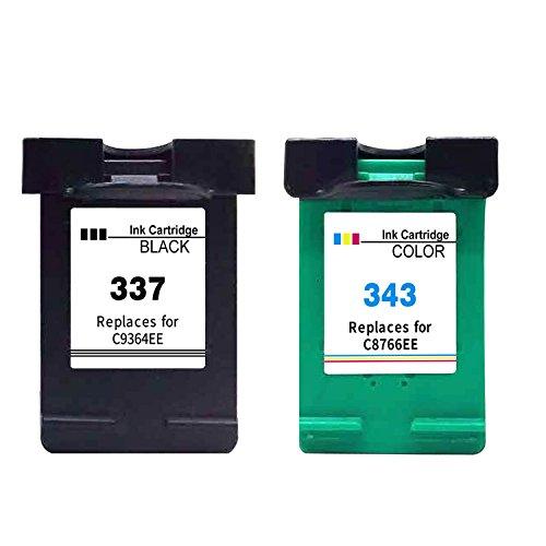 Ksera Wiederaufbereitet HP 337 343 Tintenpatrone HP 337 Schwarz HP343 Farbpatrone, 2-Pack (1 Schwarz +1 Tri-Color) C9364E / C8766E für HP Photosmart 2570, 2573, 2575, C4100, C4140, C4150