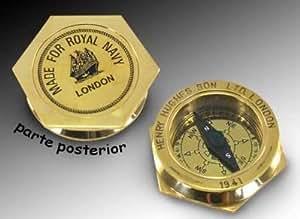 Boussole en laiton hexagonale Royal Navy, diam. 6 cm