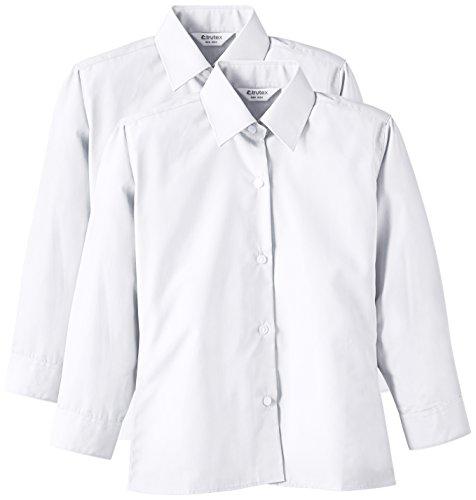 Trutex - 2PK LS Non Iron Shirt, Camicia per bambini e ragazzi, bianco (white), 13.5 inches