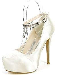 es Tacón Para Ivory Amazon Mujer Zapatos Novia De 6Cw7Uq7