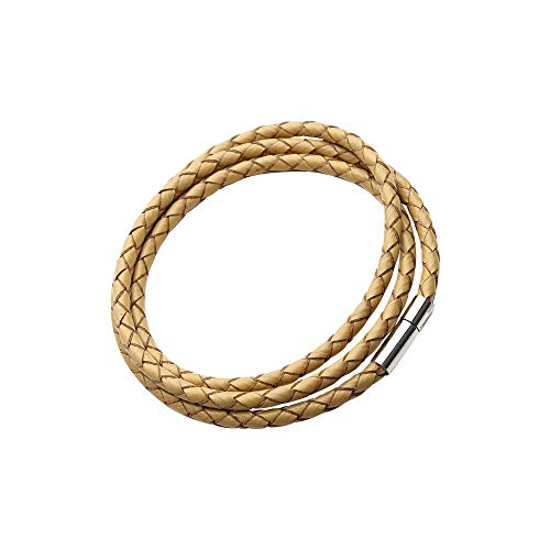 GLANZWEAR® Lederarmband Weave | Männer Frauen Wickelarmband geflochten, Magnetverschluss Leder Armband, Freundschaftsband, Partner Unisex Armbänder Damen Herren Geschenk [Gelb] Leder Magnetverschluss