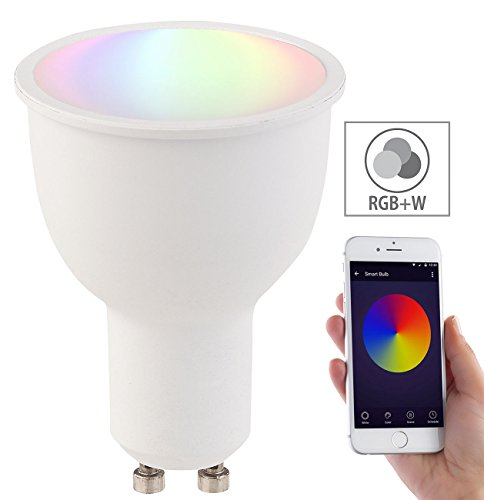 Luminea Home Control WLAN Beleuchtung: WLAN-LED-Lampe, komp. mit Amazon Alexa & Google Assistant, GU10, RGB+W (Smart Lampen)