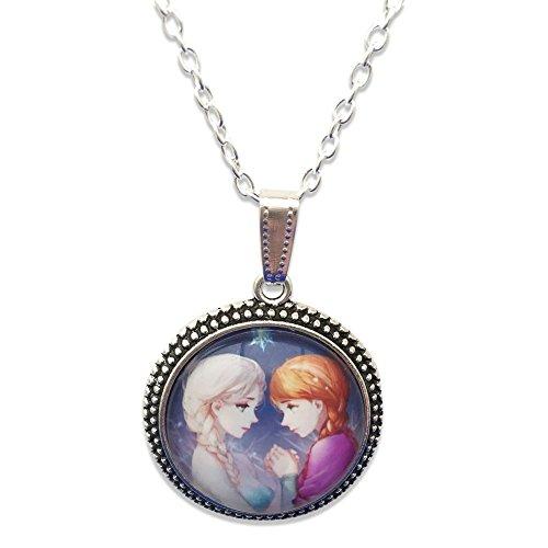 ' Prinzessin Elsa und Anna Schwestern Glas Cabochon AnhŠnger Halskette mit Silber Ton Kette (Kleider Elsa Eingefroren)