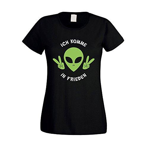 (Damen T-Shirt - Ich Komme in Frieden - von Shirt Department, Schwarz-Weiss, L)