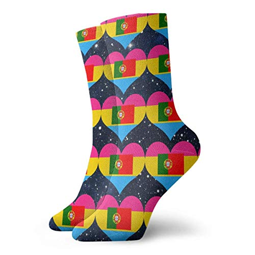 Harry wang Personalisierte Pansexual Heart Portugal Flag Socken Bunte Fun Sport Travels Strümpfe für Männer Frauen, 8,5x30 cm (Cheshire Katze Mann Kostüm)
