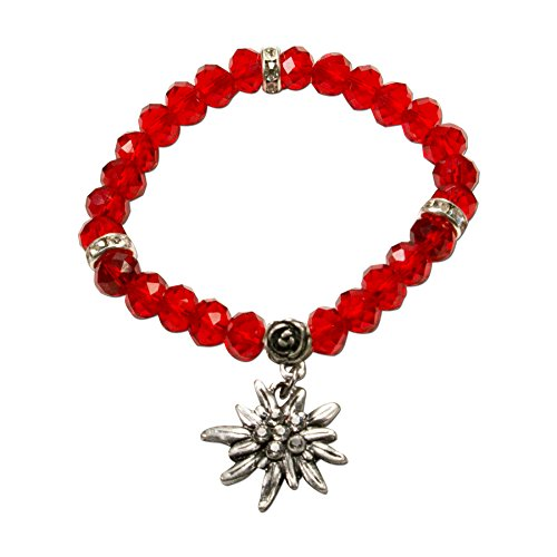 Alpenflüstern Damen Edelweiß-Trachten-Perlenarmband Fiona Crystal rot DAB04200020