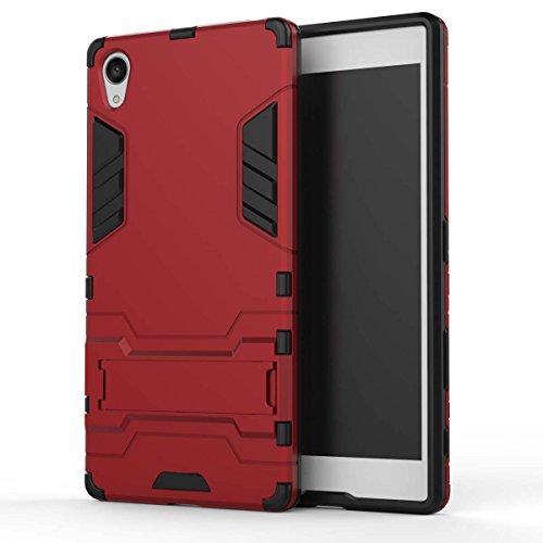 Z5 Premium Case, 2 in 1 Neue Armour Tough Style Hybrid Dual Layer Rüstung Defender PC Hartschalen mit Standfuß Stoßfestes Gehäuse Für Sony Z5 Premium ( Color : Blue Black , Size : Z5 Premium ) Red