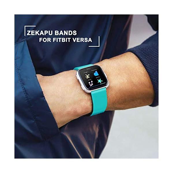 Zekapu para Fitbit Versa Correa, Bandas Repuesto Ajustable Pulsera TPU Sport Accesorio Pulsera para Fitbit Versa Pequeño Grande, 12 Colores 5