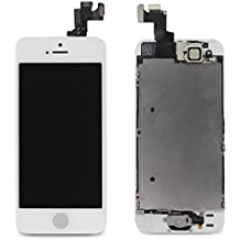 LL TRADER For iPhone 5s LCD Screen Replacement Repair Touch Digitizer Frame Dispaly Assembly Full Set White 3 Ribbons with Small Parts including (Home Button+Camera+Sensor Flex)