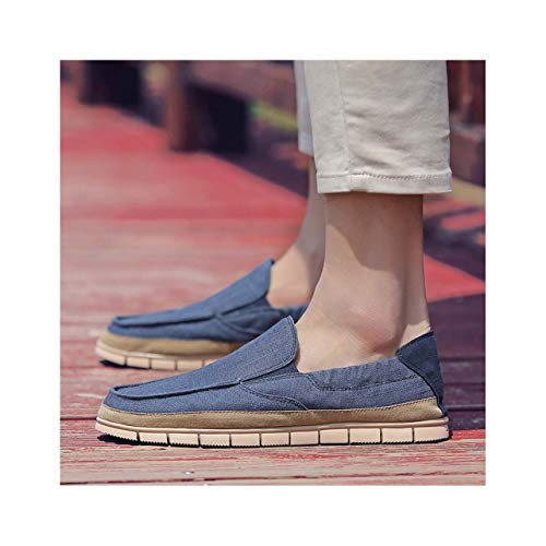 Summer Fashion Men Canvas Shoes Espadrilles Men Casual Shoes Slip on Breathable Loafers Men Flats Shoe Zapatos Hombre Blue 11