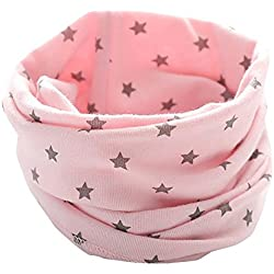 Moonuy Bufandas Lindas del Cuello del Anillo del algodón O de la Bufanda de la impresión del bebé de Las Muchachas de los nuevos Muchachos del otoño del Invierno para 0 a 3 años (Rosado)
