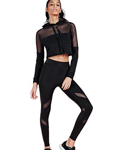 YAANCUN Damen 2 Pcs Kleidung Lange Ärmel Spleiß Perspektive Top + Enge Yogahosen Atmungsaktiv Sportswear Set Schwarz