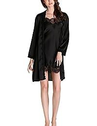 Aivtalk - Mujer Pijama de Seda Imitación Vestido con Bata de Manga Larga Conjunto de 2