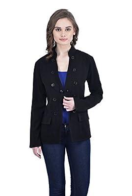 Trendif Women's Black Designer Coat Blazer