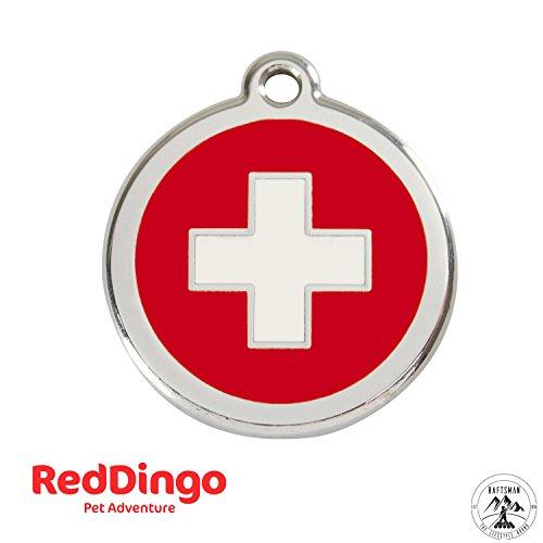 Preisvergleich Produktbild Red Dingo Hundemarke mit Gravur - Hunde ID Tag - Adressanhänger - Adressschild - (Kreuz Rot)