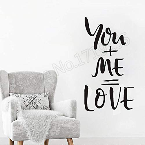 zhuziji Zitate You + me = Love Wandaufkleber Liebe Herz Romantik Valentinstag Familie Wandtattoo r Windows Removable Home Deco 57x107cm