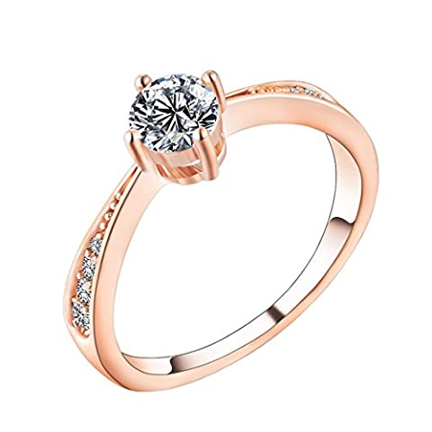 Souarts Womens Rose Gold Color Round Clear Zirconia Ring US Size 9