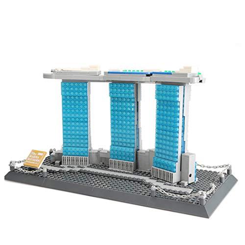 YxFlower 881 Stück Custom Bausteine Modell Architektur Spielzeug - DIY Puzzle Bausatz Modell Baukasten Kompatibel mit großen Marken Militär Baustein - Marina Bay Sands Singapur