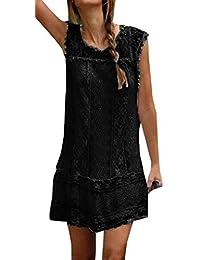 Sommer Damen Elegant Spitzen Kleid Freizeit Rundhals Ärmellos Kleider  Strandkleider Blusenkleider Mode Einfarbig Kurz Kleider Partykleid f69143f606