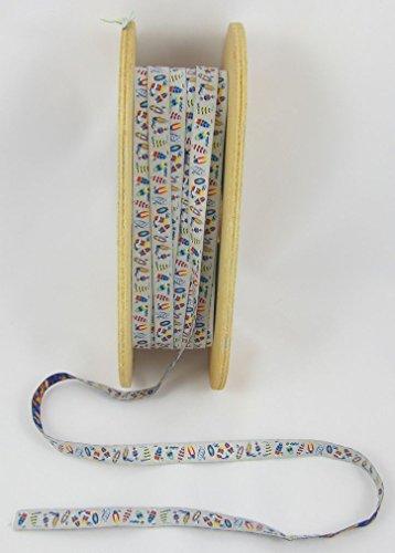 Designer: Lila-Lotta Design Surf Gris - Mélange de Couleurs - Ruban tissé au mètre - 1 m