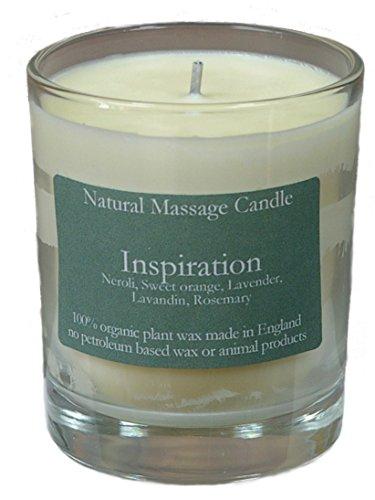Neroli Soja-kerze (Massage Kerze INSPIRATION (Inspirierend) mit Ölen aus Neroli, Orange, Lavendel, Lavendin und Rosmarin, hergestellt aus 100% Pflanzenwachs im recyceltem Glas)