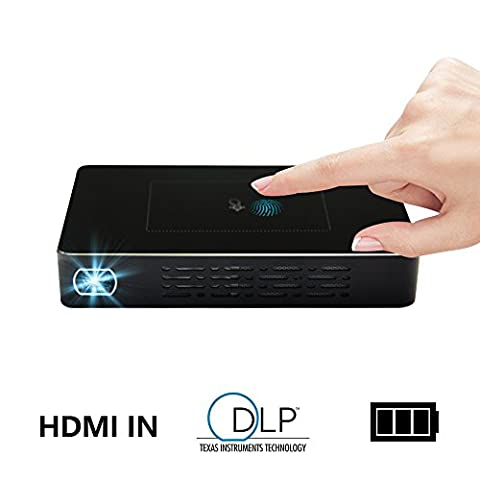 Yuancin Touchpad Mini Smart Android Interactive Video DLP Projector Pico Projector Mini Slim Wireless Portable Pocket Projector Bulid-in 1A Power Bank and 5400mAh Rechargeable Battery Max 200 Inch Big