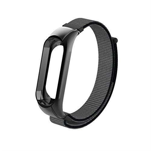 Preisvergleich Produktbild YUYOUG_watch strap yuyoug für Xiaomi Mi Band 3 Stylische Weiche Nylon Ersatz Band Sport Armband Double Buckle Handschlaufe Armband,  Gray + Black