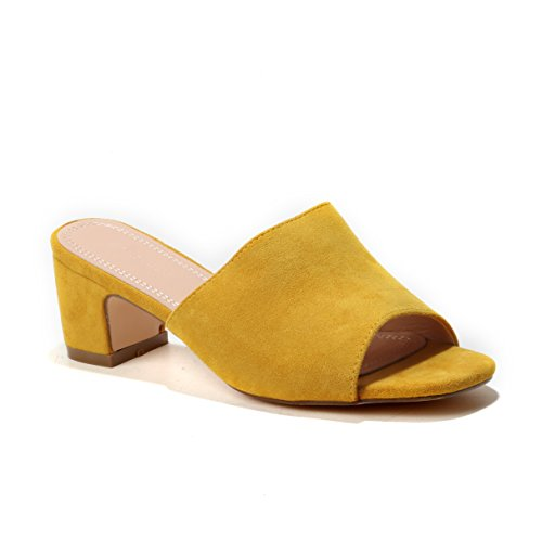 Sandara Damen Mules Wildlederoptik Absatz Pantolette Pumps Slippers (38, Yellow)