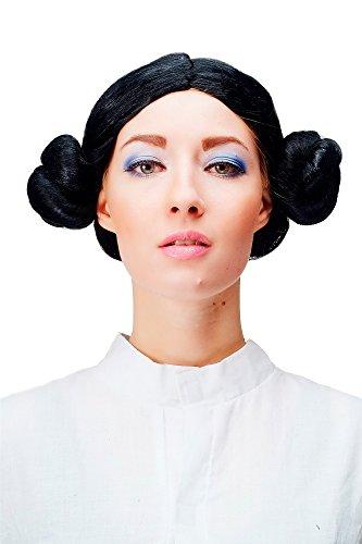 WIG ME UP ® - 4253-P103 Peluca negra de moño trenzado Carnaval traje chica tirolesa