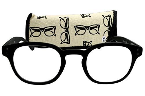 Lesebrille Damen Herren schwarz matt gummiert mit langem Bügel und Federscharnier leicht runde Gläser modern Lesehilfe Sehhilfe 1,5 2,0 2,5 3,0 3,5 mit Etui, Dioptrien:Dioptrien 2.5