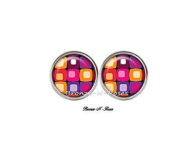 Boucles d'oreilles puces ° Seventies ° cabochon métal argenté multicolores orange