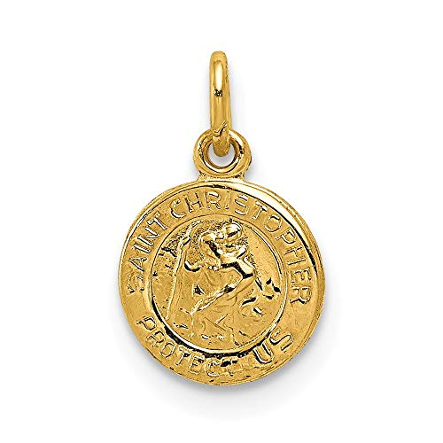 d238fb9639b 14k Yellow Gold Saint Christopher Medal Pendant Charm Necklace Religious  Patron St Fine Jewellery Gifts For