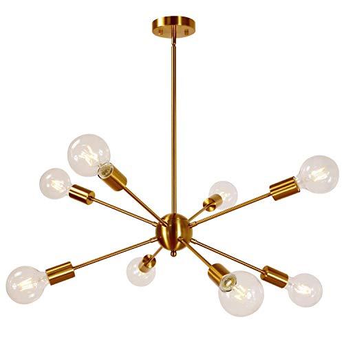 Sputnik Kronleuchter, moderne einfache 8-Lichter Messing Pendelleuchte Mid Century Light Semi Flush Mount Deckenleuchte für Schlafzimmer Living Foyer -