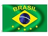 Drapeau Imprimé pour supporters soirées à thème sur les pays 100% polyester résistant avec coutures renforcées et bords doubles 150 x 90 cm, sélectionner le pays:FL-03a Brésile