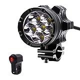 MTSBW Motorrad Lampe Aluminiumlegierung Modifizierte Blinkende Scheinwerfer 4000lm 12 V Externe Starke Licht Highlight Wasserdichte LED Mit Schalter 30 Watt