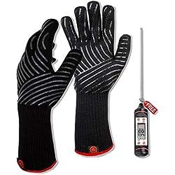 Grillhandschuhe hitzebeständig bis 800°C /36 CM Extra Lang/ Ofenhandschuhe, Oven gloves, Handschuhe mit Grillthermometer für Backen und Grillen, Outdoor Grill zubehör / Küchen zubehör