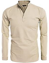 Coofandy Camisa de Lino Hombre Cuello de Henley Manga Larga Casual y Fresca