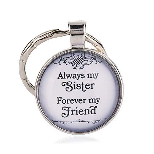 DCFVGB Schlüsselbund Mode Mädchen Always My Sister Forever My Friend Anhänger Schlüsselbund Charm Schwestern Schlüsselbund Schlüsselanhänger Geschenke -