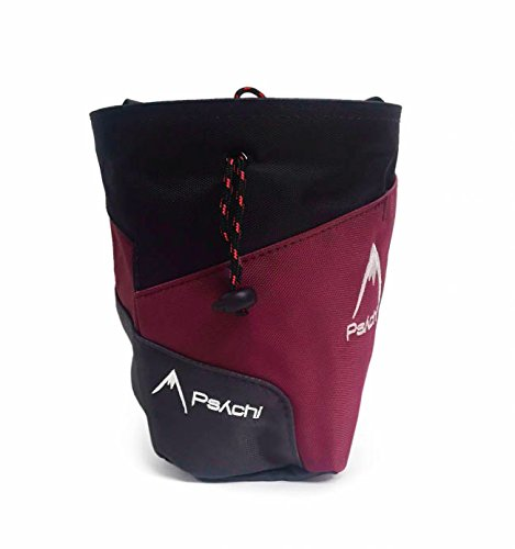 Psychi Premium-Kreidebeutel für Kletterer, Reißverschluss, Befestigungsriemen, dunkelrot