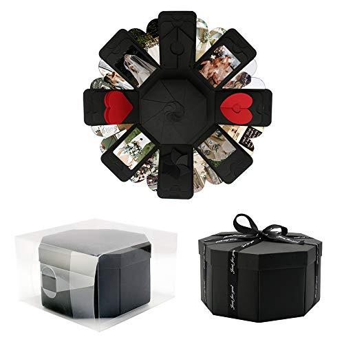VEESUN Explosionsbox Geschenkbox mit 8 Gesichtern, Kreative Überraschung Box DIY Fotoalbum, Jahrestag Geburtstags Muttertag Valentine Hochzeit Personalisierte Geschenk für Frauen Freund, Schwarz