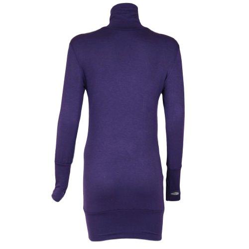 Encoche à manches longues pour femme à motif rétro Vintage col roulé femme Violet - Violet