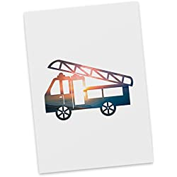 Mr. & Mrs. Panda Ansichtskarte, Grußkarte, Postkarte Feuerwehr - Farbe Sonnenuntergang