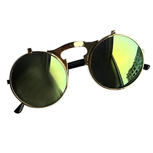 Retro Sonnenbrille oversized Lennon Flip up Style Herren Damen Metallrahmen klappbare Gläser G 12.7 * 13.2