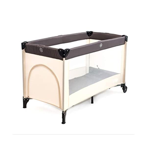 Mr.LQ Multifunctional Crib, Portable Folding Baby Playpen, Bearing Weight 60kg / 125 * 65 * 76cm,Beige,125x65x75cm  ✔[Durable high-quality materials] steel frame, high quality Oxford and PP plastic provide a solid and stable structure for your child's safe sleep. Padded top rail for added safety when used. Also included is a folding pad base. The fabric can be easily wiped clean and kept dry. ✔ [Transparent Safety Net] Use mesh cloth on both sides. This mesh area allows the baby to see clearly and the bystander can see her/him and provide good ventilation for the baby. ✔ [Easy to move] It is designed with two wheels and two legs, you can easily move it with the help of two wheels, and you don't have to worry about stability due to two solid legs. 3
