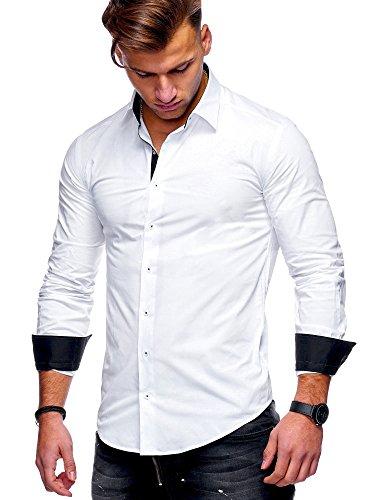 MT Styles Herren Langarm Hemd Slim Fit Bügelleicht Freizeit Modern Business H-100 [Weiß, XL]