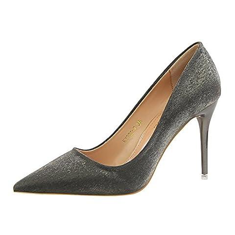 YEEY Elegante Dame Sandalen High Heels flachen Mund wies Rainbow Schuhe , black , 39 (Black Satin High Heel Pumps)