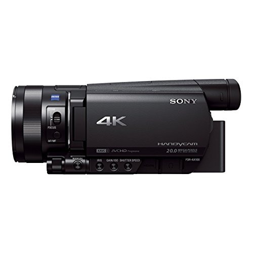 Sony FDR-AX100E 4K Ultra-HD-Camcorder (8,9 cm (3,5 Zoll) Display, 24p/25p/50p/50i Full-HD-Aufnahmen (4K in 24p/25p), eingebauter ND-Filter) schwarz