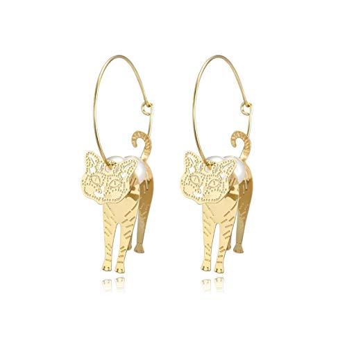 Zwzi Ohrringe Kreative Geometrie Goldene Kätzchen Katze Perle Kreis Ohrringe Anime Cat Star Ohrringe Eardrop, für Frauen Und Mädchen Geschenk. -